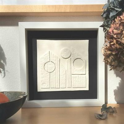 3D ceramic wall art 'Urban Landscape #2' in room setting