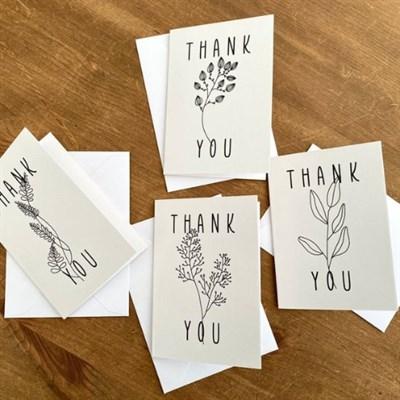 8 Thank You Cards, Flower Line Art