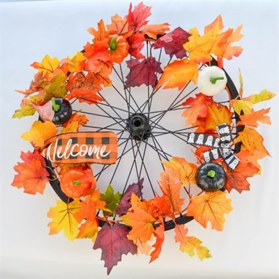 Autumn Leaves And Pumpkins Wreath by Reworked Customs