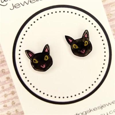 Cat Stud Earrings by Little Dingskes Jewellery