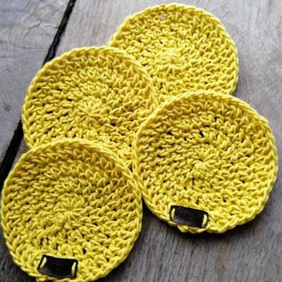 Crochet coaster set of 4 - Mustard