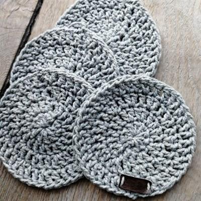 Crochet coaster set of 4 - Light grey