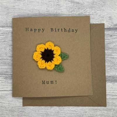Crochet sunflower card