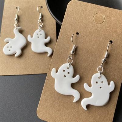 Cute Ghost Earrings, Halloween Dangles by tigerwhite studio