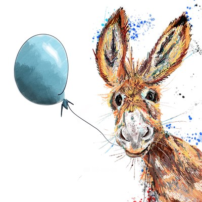 Donkey, Blue Balloon, Card, Unique.