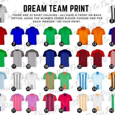 Dream Team Shirt Options - click for full image.
