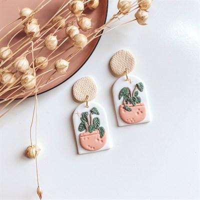 Eclectic Boho Plant Pot Earrings