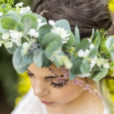 Eucalyptus Faux Flower Bridal Crown details