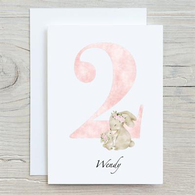 Flower Bunny 2nd Birthday Card