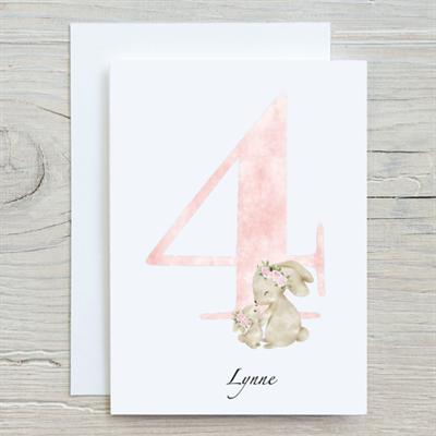 Flower Bunny 4th Birthday Card