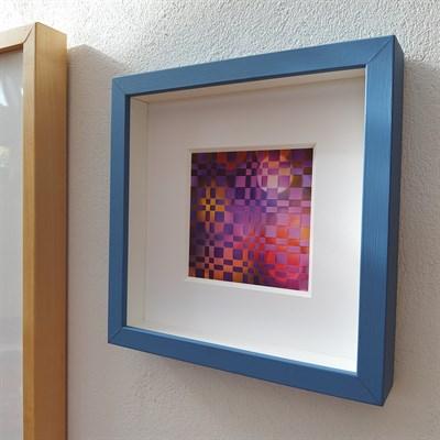 Framed woven paper artwork 'Beyond' in Blue frame