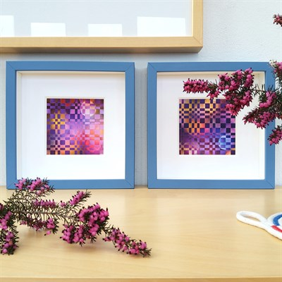 Framed woven paper artwork Beyond with Distant World
