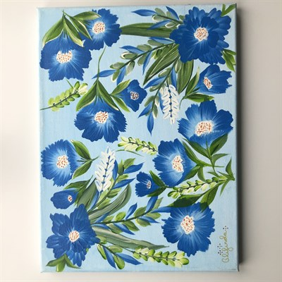 Hand-Painted One Stroke Canvas - Floral Design