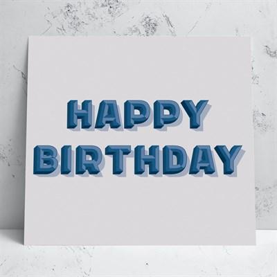 Happy Birthday Grey/Blue Card