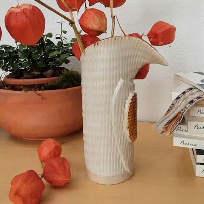 Harlequin ceramic vase with orange glaze other side view
