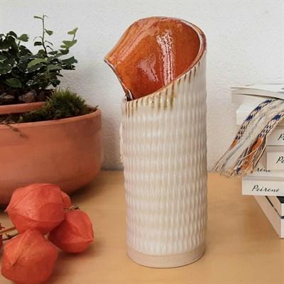 Harlequin ceramic vase with orange glaze back view