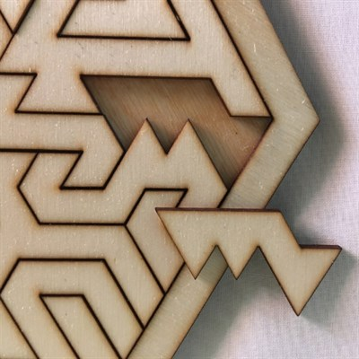 Hexagonal Geometric Wooden Tray Puzzle close up