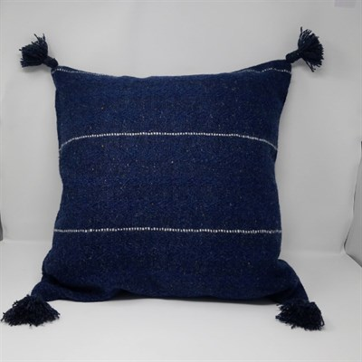 Out of the Blue  wool cushion with tassels
