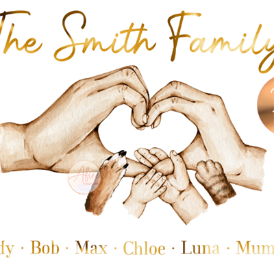 Personalised family hands foil print