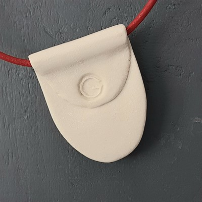 Porcelain necklace with red artwork, reverse