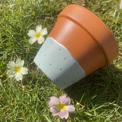 Sage green 11cm terracotta plant pot