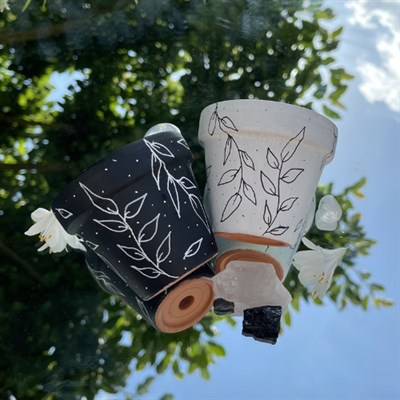 Set Of Two Black And White 8cm Planters