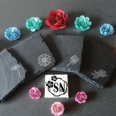 Slate floral coasters
