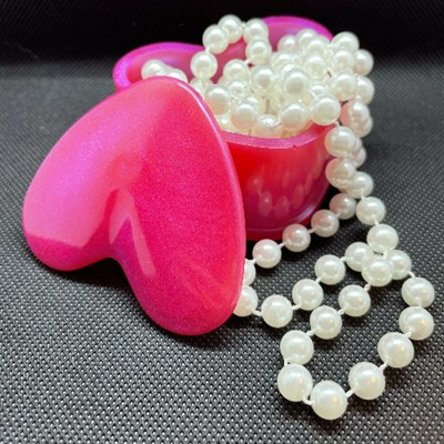 Pink Heart Trinket Box (Pearls not included)