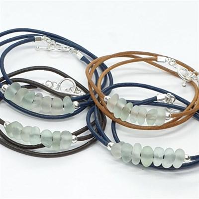 Triple-wrap leather & sea glass bracelet