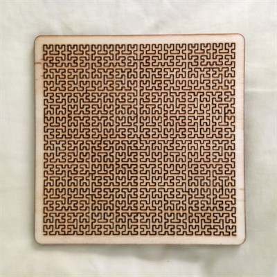 Wooden Square Fractal Tray Puzzle