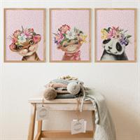 3pce Floral Pink Animals Nursery Prints