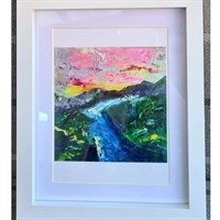 A print of a mountainscape painting