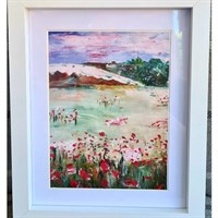 A print of my poppy landscape painting framed