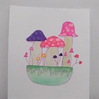 A5 neon mushroom watercolour painting
