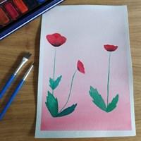 A5 poppy watercolour painting