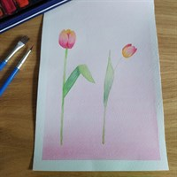 A5 Tulip watercolour painting