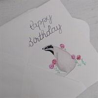 Badger Watercolour Birthday Card