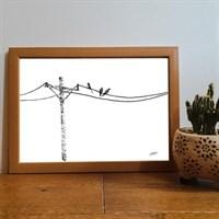 Birds On A Wire Pointillism Art Print
