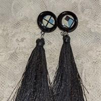 Black drop earrings gallery shot 4