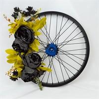 Black Peony Repurposed Wheel Wreath