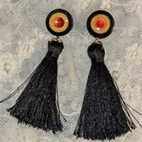 Black tasseled earrings with resined stu gallery shot 9