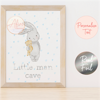Blue Bunny Personalised Foil Print