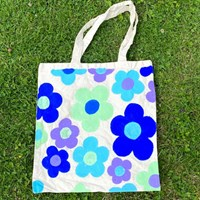 Blue Daisy Hand Painted Cotton Tote Bag
