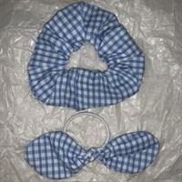 Blue Gingham School Scrunchy and Bow
