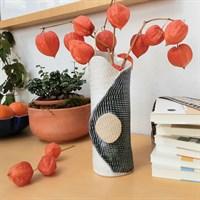 Blue/green single buttoned ceramic vase