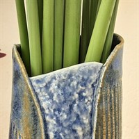 Blue/green two buttoned ceramic vase top detail gallery shot 1