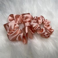 Blush Silky Feel Satin Hair Scrunchies Regular and Skinny