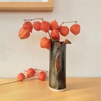 Bronzed texture ceramic wraparound vase