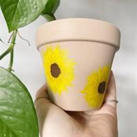 Brown Beige Sunflower Plant Pot