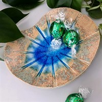 Ceramic blue glass sunburst trinket dish